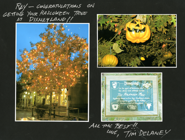 A collage of three photos showing the Halloween Tree at Disneyland, one of the jack-o-lantern ornaments on the tree, and the commemorative plaque. A note is written around the photos in silver marker.
