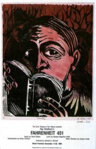 Programme for world premiere of Fahrenheit 451, Civic Theatre of Fort Wayne, Indiana, 1988. Art by Arthur Cislo. © 2002 Ray Bradbury; reproduced from Jerry Weist, Ray Bradbury: an Illustrated Life (Wm Morrow 2002).